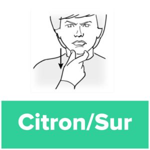Tecknet för sur/citron