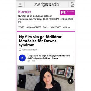 Skärmdump Sverigesradio/Klartext webbsida - Ny film ska ge föräldrar förståelse för Downs syndrom