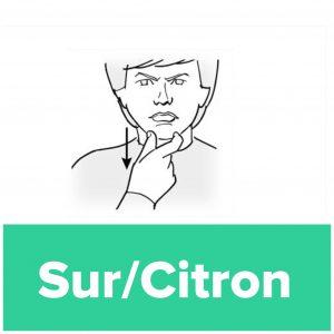 Tecknet för sur och citron
