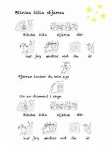 Tecken i sången blinka lilla stjärna
